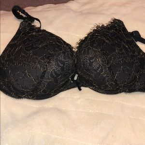 Aerie black and gold lace bra